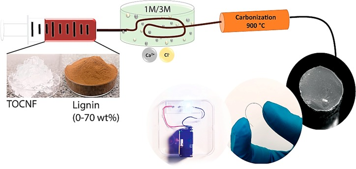 Conductive Carbon Microfibers Derived From Wet Spun Lignin